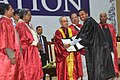 Pranab Mukherjee presenting the degree certificate to a student, at the 2nd Convocation of Central University of Karnataka, at Kalaburagi, Karnataka. The Chief Minister of Karnataka.jpg