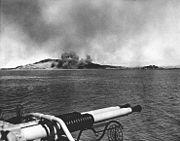 Pre-invasion bombardment at Inchon