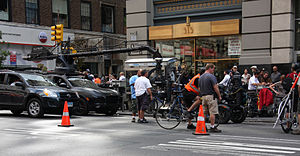 Premium Rush - Film crew preparing to shoot a scene at the intersection of 5th Avenue and West 34th Street (beneath the Empire State Building)