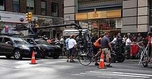 English: Film crew prepares to shoot a scene f...