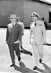 President Harry S. Truman and Admiral Radford at Hickam Air Force Base, Hawaii.jpg