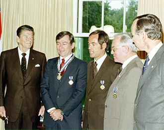Timeline of the presidency of Ronald Reagan - President Ronald Reagan presents astronaut John Young with the Congressional Space Medal of Honor as well as NASA's Distinguished Service Medal. Astronaut Robert C. Crippen also received the Distinguished Service Medal and Dr. Alan Lovelace was presented with the President's Citizens Medal, May 1, 1981