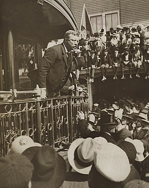 Bully pulpit - President Theodore Roosevelt delivering a speech