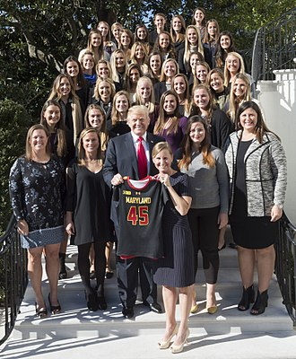 Maryland Terrapins women's lacrosse - The 2017 National Championship team with President Donald Trump