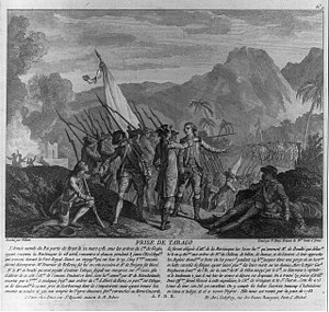 Tobago - French attack on the British island of Tobago in 1781 with text. French painting from 1784.
