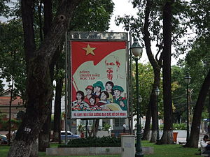 "Ho Chi Minh Thought - A propaganda banner in Vietnam: ""Live, fight, learn and follow the moral example of Ho Chi Minh"""