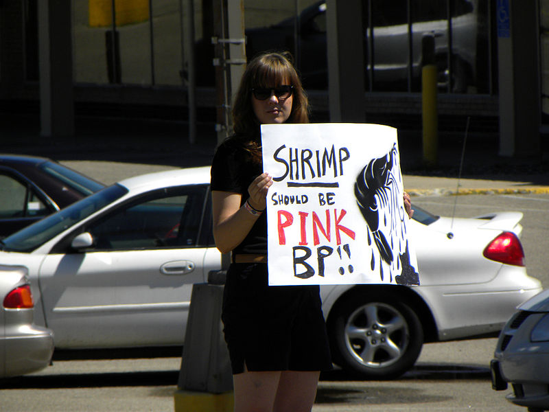 File:Protest against oil company BP and their  still leaking oil in  the Gulf of Mexico Shrimp Should be Pink.jpg