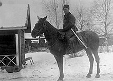 A Red Guard cavalry commander is pictured on top of his horse from the left side during the winter. A few cottage-like houses are in the background and the commander is equipped with a white sword scabbard, clearly visible from the rest of his clothing.