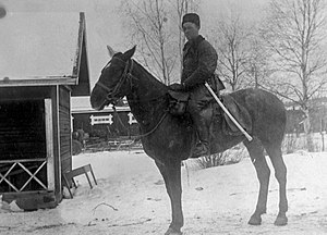 Battle of Vilppula - The Red cavalry commander Verner Lehtimäki at the Lyly train station