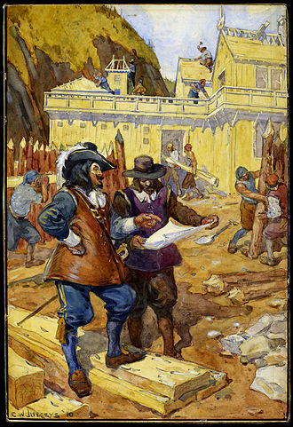 History of Quebec City - Samuel de Champlain overseeing the construction of l'habitation, in 1608.