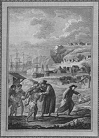 Quakers embrassant des Indiens en Pennsylvanie