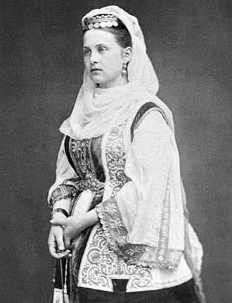 Olga Constantinovna of Russia - Queen Olga of Greece in a traditional Greek costume, circa 1870