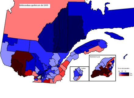 The results of the 1995 Quebec referendum per circonscription. Dark red means high no %, dark blue means high yes %. Referendum 1995.PNG