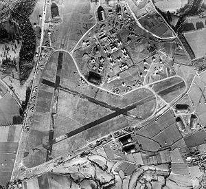 RAF Colerne - Aerial photograph of Colerne Airfield looking north, the technical site and barracks are upper right, 4 December 1943.