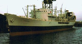 RFA <i>Tidespring</i> (A75) former Tide-class replenishment oiler of the Royal Fleet Auxiliary