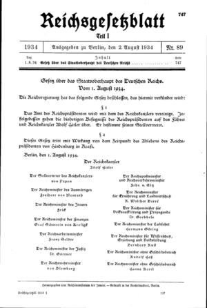 German referendum, 1934 - The Law on the Head of State of the German Reich of August 1