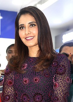 Raashi Khanna at the Big C launch, Hyderabad (cropped).jpg