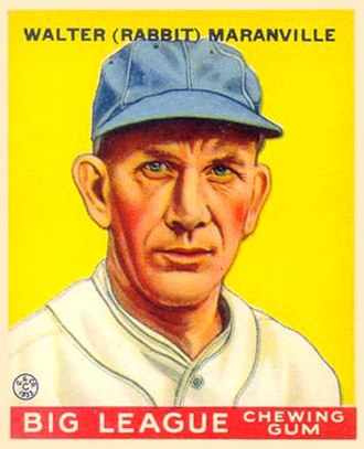 "Rabbit Maranville - Goudey baseball card of Walter ""Rabbit"" Maranville, 1933"