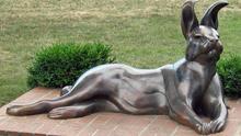 """Rabbit"" a public art sculpture in Maytag Park, Newton, Iowa."