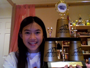 Sport stacking - Rachael Nedrow with a trophy from the 2009 Oregon Sport Stacking Championships