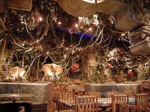 The Dubai Mall - The interior of the Rainforest Cafe in the mall.