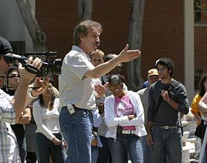 Open-air preaching - Evangelist Ray Comfort open-air preaching at a Great News Network evangelism boot camp in 2004