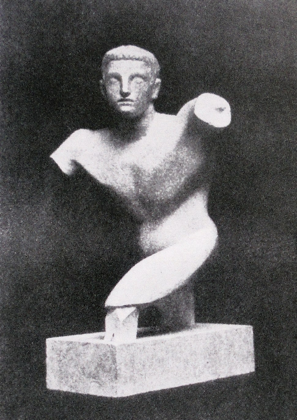 Raymond Duchamp-Villon, 1910, Torse de jeune homme (Torso of a young man), terracotta, Armory Show postcard, published 1913