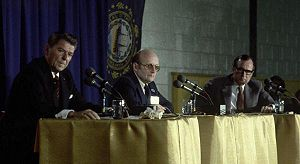 Republican Party presidential primaries, 1980 - The Nashua debate, the 9th debate between Ronald Reagan (left) and George H. W. Bush (right)