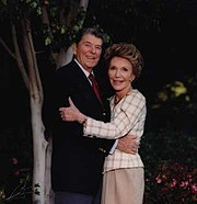 Ronald and Nancy Reagan in Los Angeles after leaving the White House, early 1990s