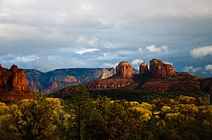 Red beds - Cathedral Rock near Sedona, made of  Permian redbeds.
