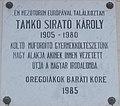 Református Gimnázium, Tamkó Sirató Károly emléktábla, 2019 Mezőtúr.jpg