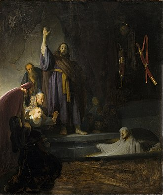 The Raising of Lazarus (Rembrandt) - The Raising of Lazarus, Rembrandt. Oil on panel. 37 15/16 x 32 in. (96.36 x 81.28 cm). Late 1620s or 1630-32. Los Angeles County Museum of Art