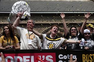 Rene Rancourt - Rancourt (center) participating in the Bruins 2011 Stanley Cup Finals victory parade