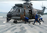 Republic of Singapore Air Force Eurocopter AS332 Super Puma on the USS Harpers Ferry during CARAT 2007 - 20070723
