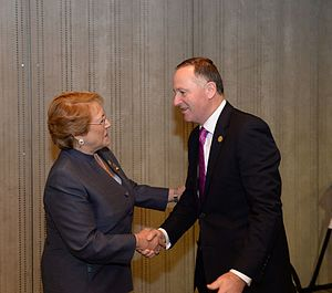 Chile–New Zealand relations - Chilean President Michelle Bachelet meeting with New Zealand Prime Minister John Key at the APEC summit in Peru, 2016.