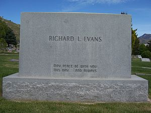 Richard L. Evans - Grave marker of Richard L. Evans (back).