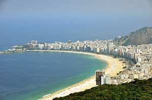 Copacabana, Rio de Janeiro - A view of the Copacabana beach from Sugarloaf Mountain