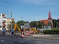 Roadworks and Reformed Church, Szent István király út and Erkel Street cnr., 2017 Mosonmagyaróvár.jpg