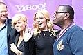 Rob Cavallo, Kimberly Caldwell, LeAnn Rimes & Randy Jackson at Yahoo Yodel 2.jpg