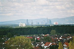 Rodgau - View from the watertower over Hainhausen towards Frankfurt
