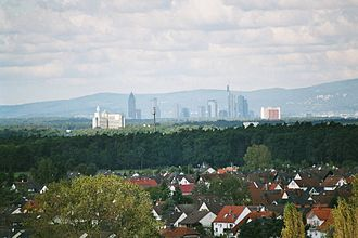 Rodgau - View from the watertower over Hainhausen towards Frankfurt
