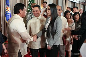 Mocha Uson - Uson greeting President Rodrigo Duterte at the Malacañang Palace following her appointment as an MTRCB board member, January 9, 2017