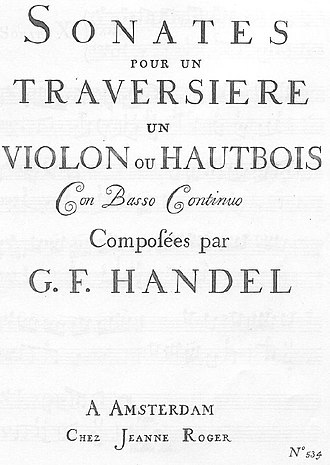 "Handel solo sonatas (Walsh) - Cover of ""Roger's"" 1730 publication."