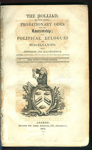 "Rolliad - Title page of J. Ridgway's printing of the Rolliad from 1812. The drawing has several puns on the name 'Rolle' including the punning motto ""Jouez bien votre role""."