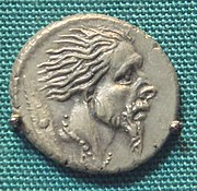 Roman silver Denarius with the head of captive Gaul 48 BCE, following the campaigns of Caesar.