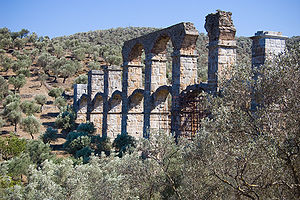 Lesbos - View of the Roman aqueduct.