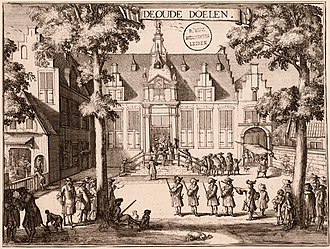 The Officers of the St Adrian Militia Company in 1630 - 1688 engraving of the guardsmen practising in the yard of the old meeting hall (showing the steps with rails that they are standing on in the painting).