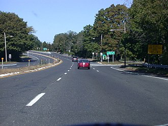 New Jersey Route 35 - Route 35 northbound just past the Manasquan River bridge, approaching Route 71 in Brielle.