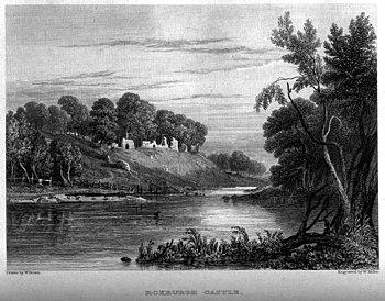 Grabado con las ruinas del Castillo de Roxburgo, obra de William Miller after W Brown