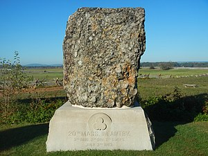 20th Regiment Massachusetts Volunteer Infantry - Monument to the 20th Massachusetts Infantry on the Gettysburg battlefield; Roxbury Conglomerate.